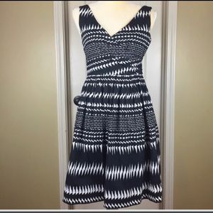 J. Crew Factory Black & White Pleated Dress Sz 2